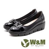 【南紡購物中心】W&M 漆皮亮面 舒適厚底娃娃鞋 女鞋-黑(另有藍)