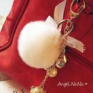 毛球鑰匙圈。AngelNaNa 超軟毛毛 珍珠 蝴蝶結 包包吊飾(SRA0010)