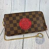 BRAND楓月 LOUIS VUITTON 路易威登 LV N61740 棋盤 印章 圖案 拉鍊長夾 錢包 錢夾