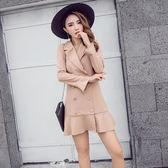 VK精品服飾 韓國風名媛純色荷葉擺西裝領外套收腰魚尾擺長袖洋裝