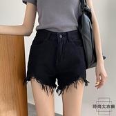 牛仔短褲女高腰顯瘦a字寬鬆闊腿褲毛邊韓版熱褲【時尚大衣櫥】