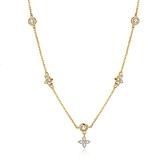 925純銀項鍊+鋯石吊墜-四葉草花朵清新氣質女飾品2色74aq12【巴黎精品】