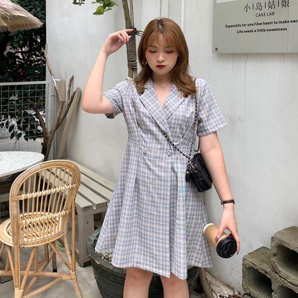 中大尺碼 西裝領收腰洋裝~共三色 - 適XL~4L《 68407HH 》CC-GIRL