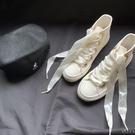 仙女絲帶小白鞋女2021新款春夏ins韓版學生百搭小眾神仙帆布鞋子 小時光生活館