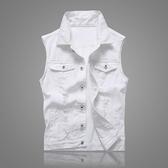 馬甲 牛仔馬甲男士夏季韓版修身無袖上衣服潮坎肩牛仔背心外套白色馬夾 快速出貨