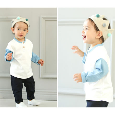 韓版圓領藍白拼接色長袖上衣親子裝(男童)