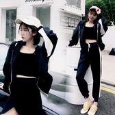 套裝 港味復古外套女2018新款春秋兩件套時尚顯瘦原宿bf學生運動套裝潮