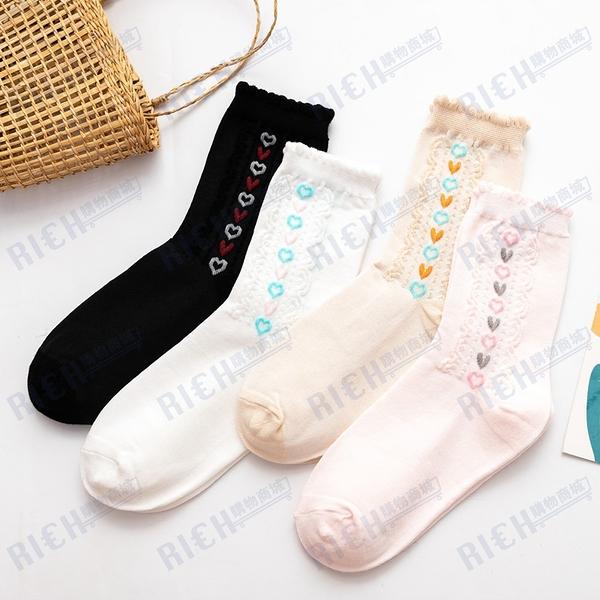 白色襪子女日系輕復古甜美中筒襪花邊豎排愛心提花堆堆襪學院風