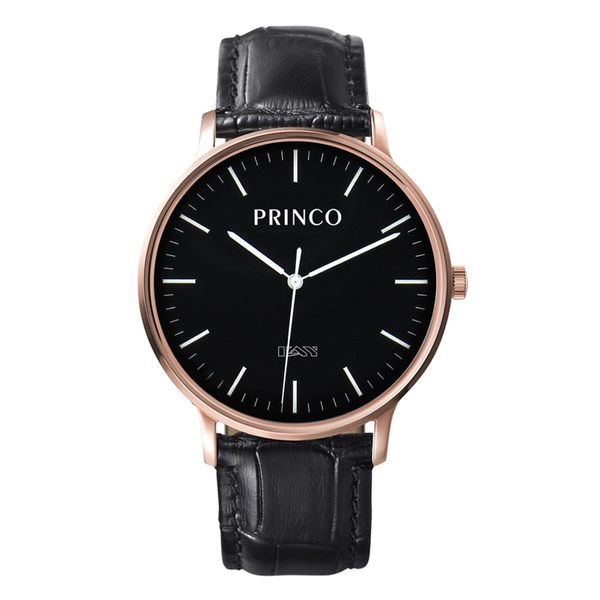 PRINCO 時尚經典一卡通速PAY石英錶-40mm黑底金邊(快拆皮革錶帶)(MD0199G)