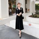 洋装 黑色連身裙韓版長袖雪紡裙赫本風過膝蕾絲超仙H325 韓依紡