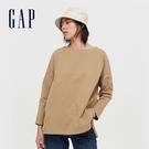 Gap女裝 簡約風格純色圓領長袖T恤 656453-駝色