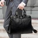 公事包手包韓版公事包商務手提包斜背側背包斜背包男包包男士休閒包袋 伊蘿鞋包
