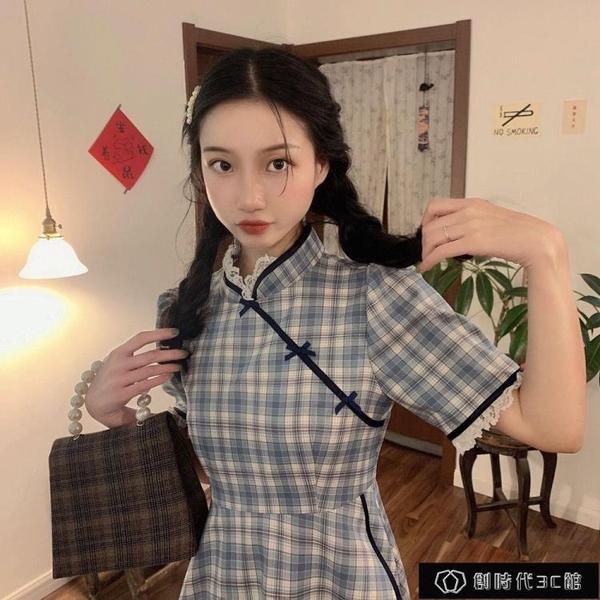 春夏新款中國風格紋撞色旗袍改良版少女日常可穿甜美泡泡袖連【全館免運】