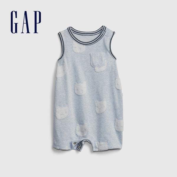 Gap嬰兒 立體小熊無袖包屁衣 678206-淺藍色