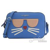 茱麗葉精品【全新現貨】 KARL LAGERFELD 卡爾 墨鏡貓咪造型方型斜背包.藍