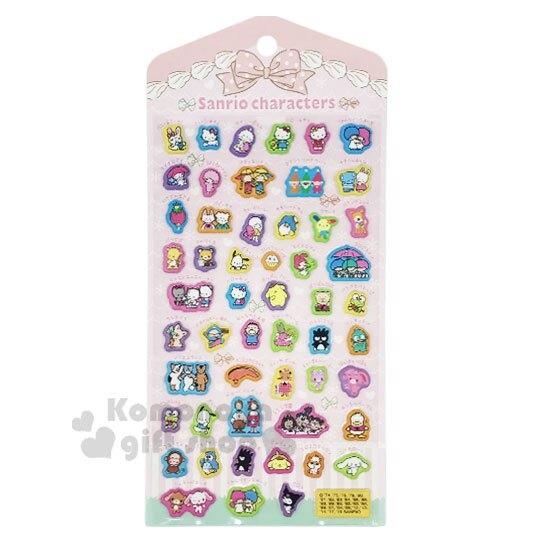 〔小禮堂〕Sanrio大集合 立體造型泡棉貼紙《粉.角色》裝飾貼.黏貼用品 4901610-18217