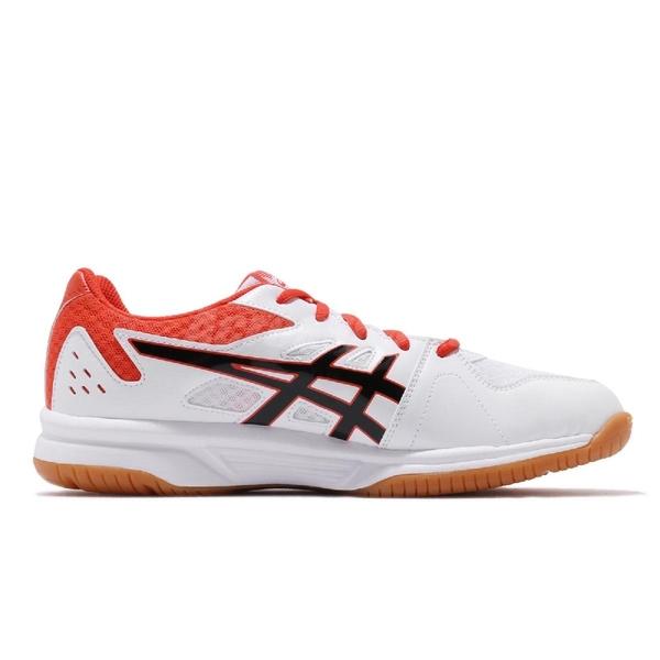 Asics 排羽球鞋 Upcourt 3 白 橘 黑 膠底 低筒 男鞋 排羽球鞋 【PUMP306】 1071A019103