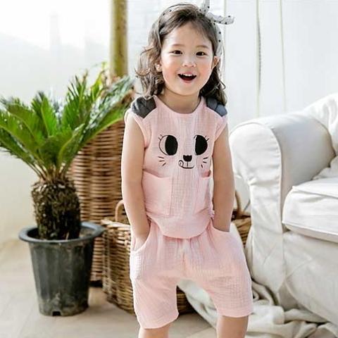 套裝 韓國 Bebezoo 熊耳朵表情短袖上衣+短褲 套裝2件組 - 粉色 BE17-SET206-PK
