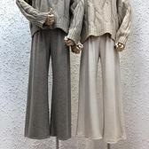 秋冬加厚2020新款韓國東大門高腰垂感兔絨條小清新寬鬆顯瘦闊腿褲