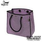 手提袋-超大容量編織海灘袋-黑粉紫千鳥-010