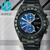 WIRED日本原創雙色雷神 計時腕錶-藍x黑/IP黑/42mm 7T94-X003A/AR5005X公司貨/禮物/聖誕節