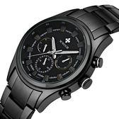 手錶男 腕錶六針運動款男士手錶夜光鋼帶防水男錶手錶《印象精品》p126