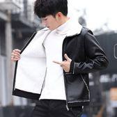 男士外套 個性秋冬款皮衣夾克 夾克男士裝 韓版潮流修身帥氣外套 秋冬季加絨衣服 皮夾外衣