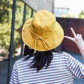 太陽帽 日系遮臉夏天大檐漁夫帽子女士休閒韓版百搭夏季遮陽文藝防曬盆帽 草莓妞妞
