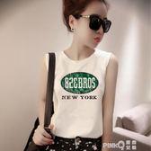 夏季韓版小背心女外穿寬鬆bf風學生百搭無袖t恤吊帶打底短款上衣  【PINKQ】