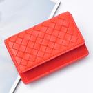 【Miyo】進口羊皮手工編織實搭卡夾(橙紅色)