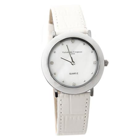 范倫鐵諾Valentino 簡約刻度珍珠貝面真皮腕錶 多角度切割手錶 柒彩年代【NE1572】單支售價