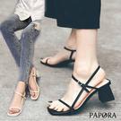PAPORA細條粗跟休閒涼鞋KK6657