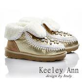 ★零碼出清★Keeley Ann 異國情懷~印紋閃奪寶石暖毛雪靴(金色)