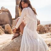 罩衫 蕾絲 緹花 長裙 開襟 長袖 沙灘 比基尼 罩衫【ZS199】 ENTER  04/26