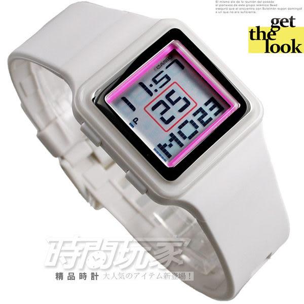 CASIO卡西歐LDF-20-7A電子錶 方型 白粉配色 白色橡膠 積木錶 44mm 女錶 LDF-20-7AVDR