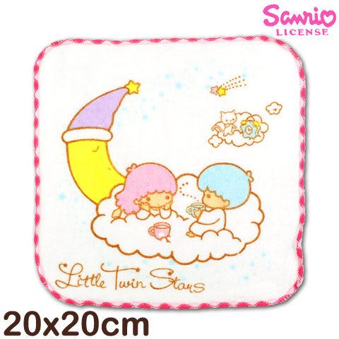 Sanrio 雙星仙子窯花小手巾 月亮白雲款 台灣製造好安心 三麗鷗 Little twin stars 方巾 手帕 兒童毛巾