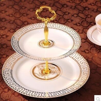 歐式簡約陶瓷盤子雙層蛋糕盤點心水果盤雙層盤串盤餅乾糖果盤