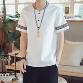 亞麻衫中國風夏季薄款亞麻短袖t桖男士寬鬆大碼半袖體桖潮流棉麻上衣服 衣櫥秘密