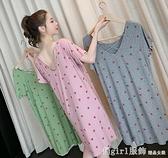 睡裙 夏季睡裙女莫代爾棉薄款甜美短袖睡衣小性感露背春秋中長款洋裝 618購物節
