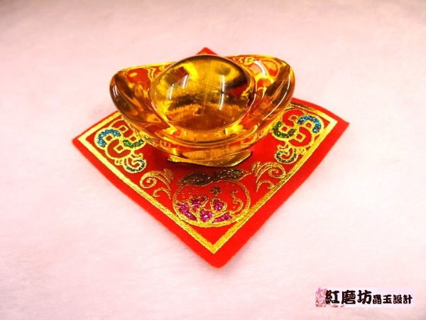 【Ruby工作坊】NO.7M8S優質中黃水晶元寶加布絨紅春聯套組 (加持祈福)