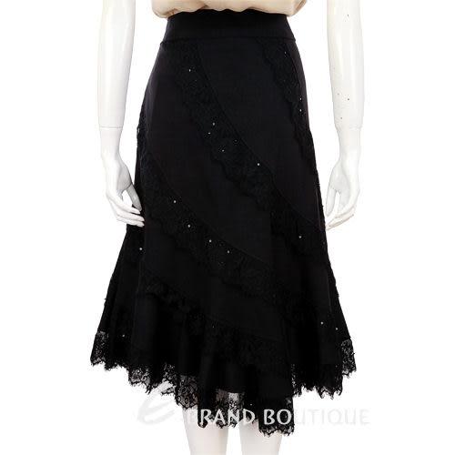 Liesangbong黑色蕾絲拼接及膝裙 0510529-01