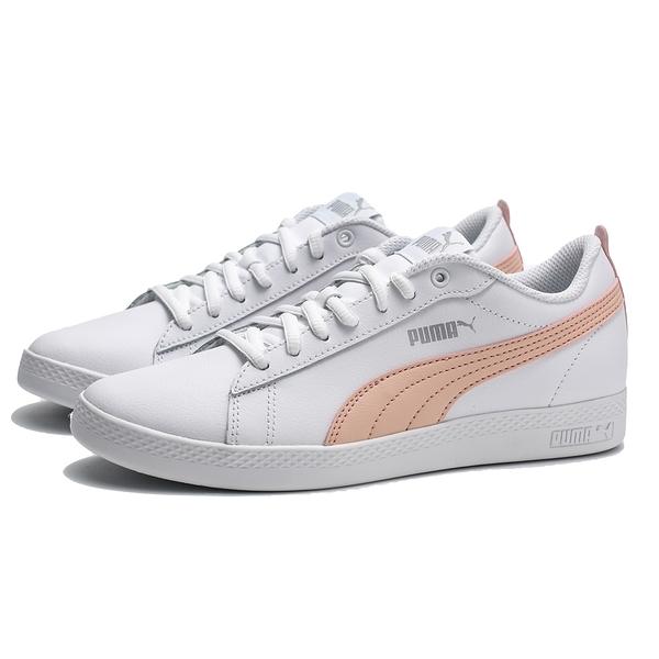 PUMA 休閒鞋 SMASH WNS V2 白皮革 淡粉 復古 女 (布魯克林) 36520814
