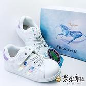 【樂樂童鞋】【台灣製現貨】冰雪奇緣2雪花休閒鞋-白色 F023 - 現貨 台灣製 女童鞋 休閒鞋 運動鞋