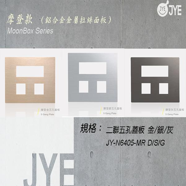 中ㄧ 月光系列 摩登款開關切面板- 二聯五孔蓋板 銀/灰/金 JY-N6405-MR