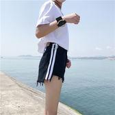 夏裝女裝新款韓版原宿側條紋毛邊牛仔短褲百搭裝飾學生闊腿褲熱褲