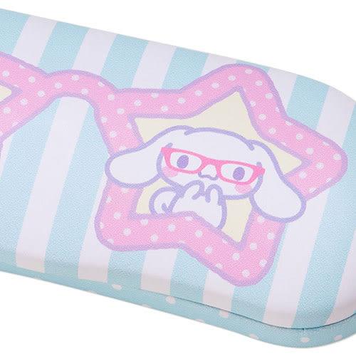《Sanrio》大耳狗喜拿萌萌戴眼鏡PU皮革眼鏡收納盒(條紋)_273210
