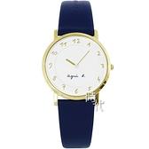 【台南 時代鐘錶 agnes b.】BG4020P1 手寫風 數字 皮革錶帶女錶 33mm 白/藍 7N00-KEX0B