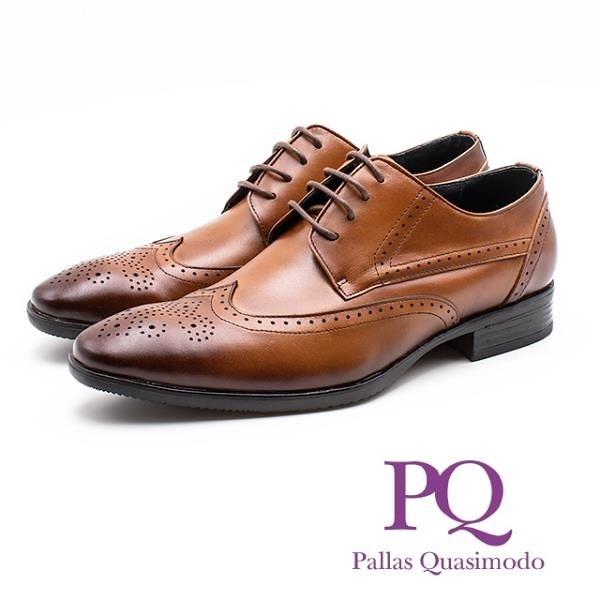 【南紡購物中心】PQ 真皮雕花壓紋造型綁帶皮鞋 男鞋 - 棕(另有黑)