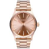NIXON SENTRY 38 SS 極簡復刻化時尚腕錶-玫瑰金