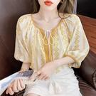 民族風上衣 度假風上衣 圓領抽繩短袖刺繡寬鬆襯衫休閒上衣女1213T406依佳衣